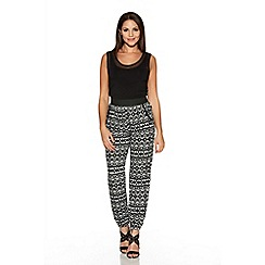 Quiz - Black Cream And Grey Aztec Print Harem Trousers