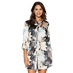 Quiz - Blue And Pink Satin Flower Print Shirt Dress