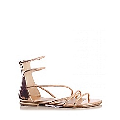 Quiz - Rose Gold Tube Strap Flat Sandals