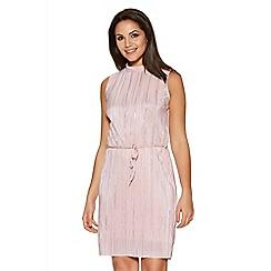 Quiz - Pale Pink And Silver Foil Turtle Neck Belt Dress