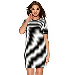 Quiz - Black And Cream Stripe Tunic Dress