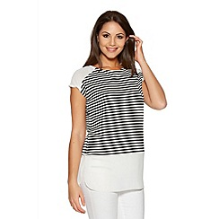 Quiz - Black And Cream Stripe Chiffon Shoulder Top