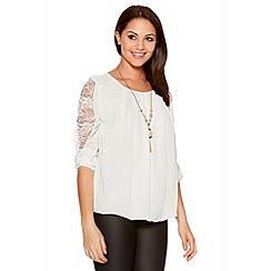Quiz - White Chiffon Lace Bubble Hem Top