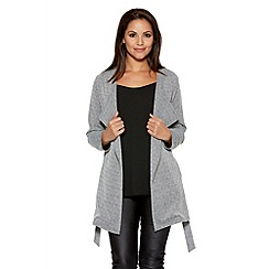 Quiz - Grey Waterfall Tie Belt Long Sleeve Jacket
