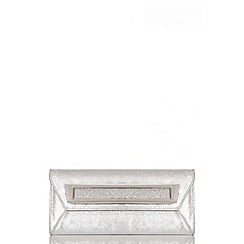 Quiz - Silver Shimmer Metal Plate Envelope Bag