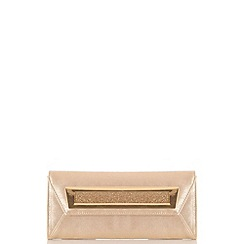 Quiz - Gold Shimmer Metal Plate Envelope Bag