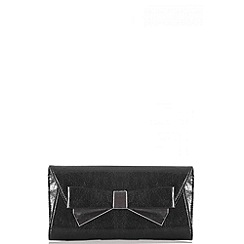 Quiz - Black Shimmer Bow Envelope Bag
