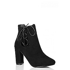 Quiz - Black Faux Suede Lace Up Ankle Boots