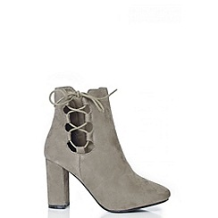 Quiz - Taupe Faux Suede Lace Up Ankle Boots