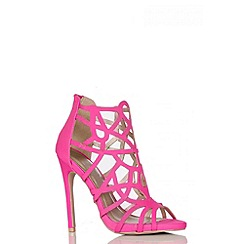 Quiz - Pink Cage Cut Out Heel Sandal