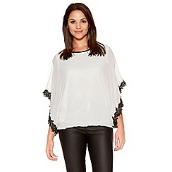 Quiz - Cream And Black Bubble Lace Trim Top