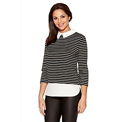 Quiz - Black And White Stripe 3/4 Collar Top