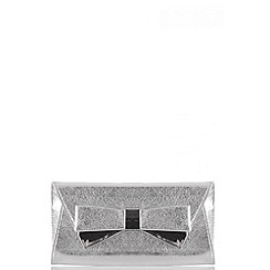 Quiz - Silver Shimmer Bow Envelope Bag