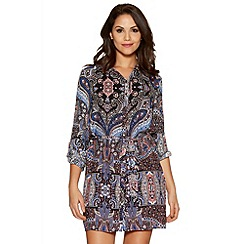 Quiz - Blue And Pink Paisley Print Shirt Dress