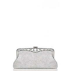 Quiz - Silver Big Jewel Embellished Bag
