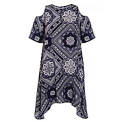 Quiz - Navy And White Tile Print Tunic Dress