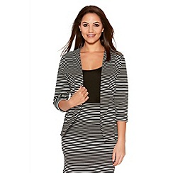 Quiz - Black And White Stripe 3/4 Sleeve Jacket