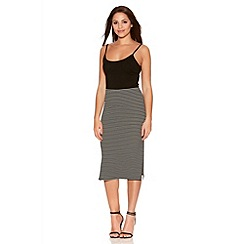 Quiz - Black And White Stripe Midi Skirt