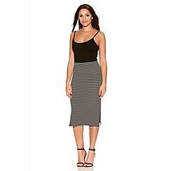 Quiz - Black And White Stripe Midi Skirt
