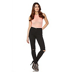 Quiz - Black Denim Skinny Rip Knee Jeans