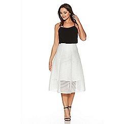 Quiz - White Mesh Ribbed Midi Skirt
