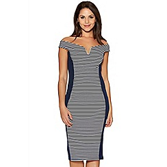 Quiz - Navy And White Stripe Bardot Panel Dress