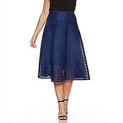 Quiz - Navy Mesh Ribbed Midi Skirt