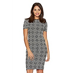 Quiz - Black And White Diamond Print Bodycon Dress