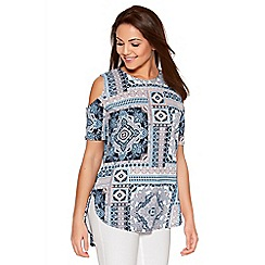 Quiz - Multicolour Crepe Tile Print Cut Out Top