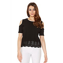 Quiz - Black Pleated Cold Shoulder Cut Out Top