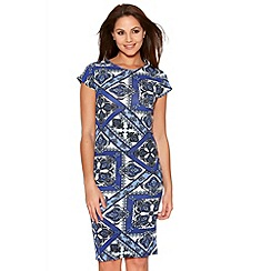Quiz - Royal Blue Tile Print Midi Dress