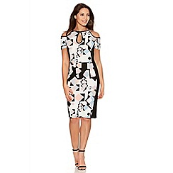 Quiz - Multicoloured Geometric Print Cold Shoulder Midi Dress
