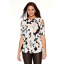 Quiz - Cream And Pink Geometric Print Cold Shoulder Top