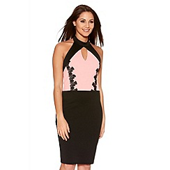 Quiz - Pink And Black Lace Trim Bodycon Dress