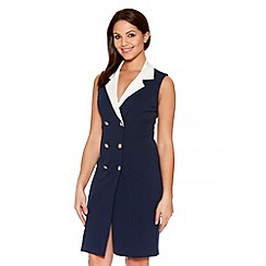 Quiz - Navy And Cream Contrast Lapel Button Dress