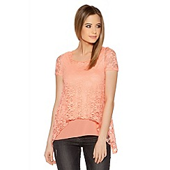 Quiz - Bright Coral Lace Chiffon Hem Top