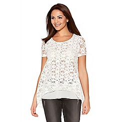 Quiz - Cream Lace Chiffon Hem Top