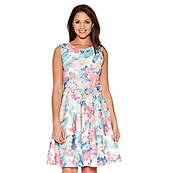 Quiz - Cream And Pink Flower Belt Skater Dress