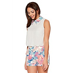 Quiz - Multicoloured Flower Print Collar Playsuit