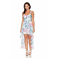 Quiz - Multicoloured Flower Print Chiffon Dip Hem Dress