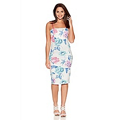 Quiz - Multicoloured Flower Print Midi Dress
