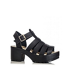 Quiz - Black PU Chunky Gladiator Strap Sandals