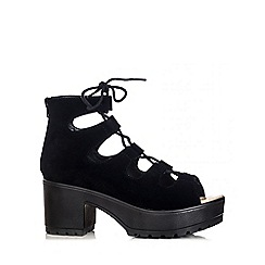 Quiz - Black Faux Suede Lace Ankle Sandals