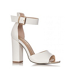 Quiz - White PU Metal Plate Block Heel Shoes