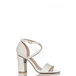 Quiz - White PU Cross Strap Block Heel Sandals