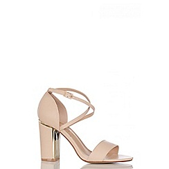Quiz - Nude PU Cross Strap Block Heel Sandals