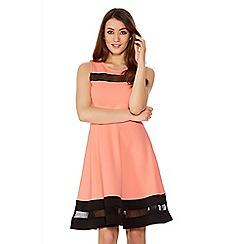 Quiz - Coral Mesh Skater Dress