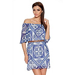 Quiz - Blue And Cream Tile Print Bardot Belt Dress