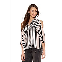 Quiz - Pink Cream And Black Crepe Stripe Cold Shoulder Top