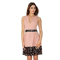 Quiz - Pink And Black Lace Skater Dress